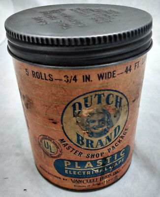 Dutch Brand Plastic Electrical Tape Tin Can Paper Label Antique Empty VTG