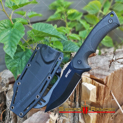 "9"" Fixed Black Blade Tactical Hunting Knife with ABS Belt Loop Holster Sheath"