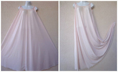 "Vintage LUCIE ANN LONG NIGHTGOWN Silky Nylon HUGE 120"" Sweep Peach L XL 48"" Bust"