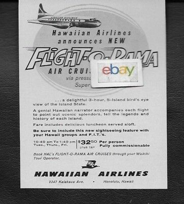 Hawaiian Airlines 1960 Convair 340 Flight O Rama Air Cruises 5 Islands $32 Ad