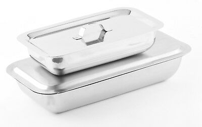 Surgical Veterinary Stainless Steel Instrument Tray with Lid 4 Sizes Available