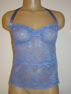 Fredericks of Hollywood blue lace halter cami tank semi sheer Valentines-S-NEW