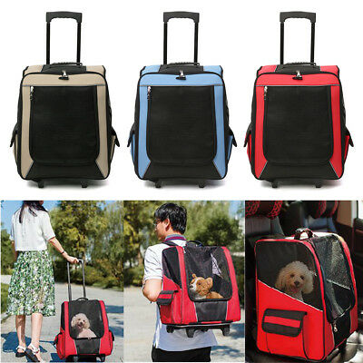 Pet Carrier Stroller Trolley Foldable Dog Cat Puppy Travel Rolling Backpack Cage