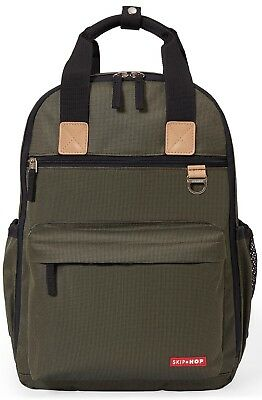 Skip Hop Duo Baby Diaper Bag Backpack w/ Changing Pad Olive NEW