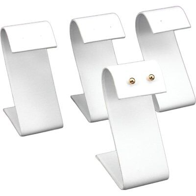 4 White Faux Leather Earring Display Stands 3.25""