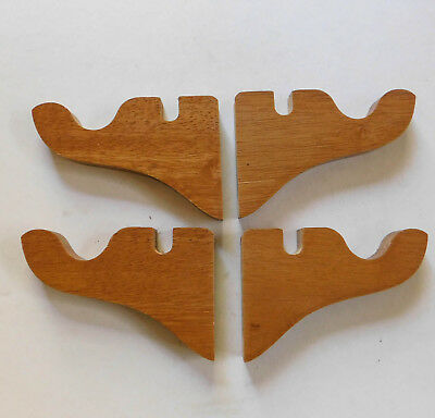 2 Pair Vintage Wooden Curtain Window Rod Brackets Two Grooves