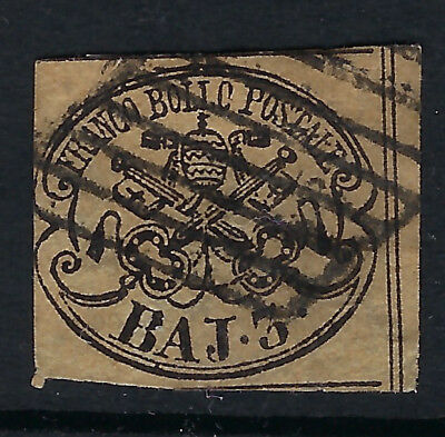 PAPAL STATES (Italy) :1858 3b yellow-buff imperforate SG16 used