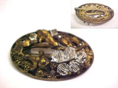 Antique  Vtg  Nouveau  Victorian  BRASS  and  Crystal  Brooch  Pin