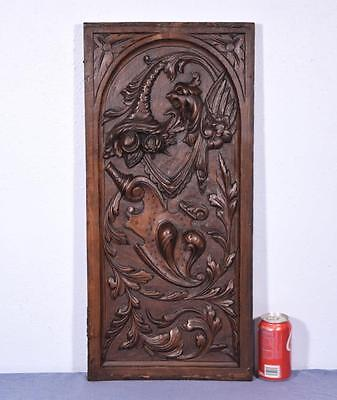 *French Antique Carved Panel in Walnut Wood with Griffins and Cornucopia Salvage