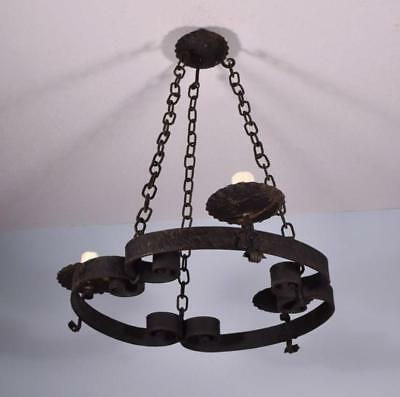 *Large Antique French Wrought Iron Chandelier/Hanging Lamp