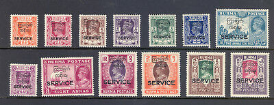 Burma Sg O41-O53 Gvi 1947 Definitive Set M/m