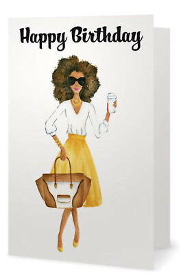 Fabulous African American Lady In Yellow Happy Birthday Greeting Card