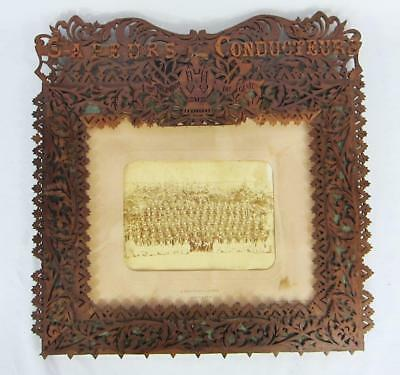 Superb Big Antique Vintage French Army Trench Art Frame Photograph Sapeurs 1891