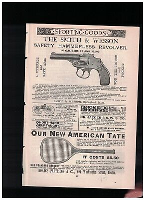 1889 The Smith & Wesson Safety Hammerless Revolver In Calibers 32 & 38/100 Ad