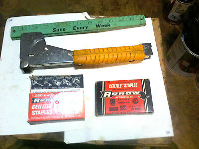 "Vintage Arrow Heavy Duty Hammer Staple HT50P T50 5/16"" 3/8"" 1/2"" w/2250 staples"