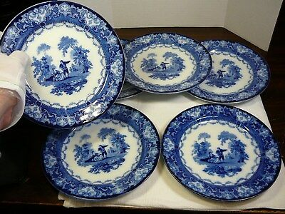 Lot of Six Burslem Doulton Watteau Flow Blue Plates Antique Vintage 7.5""