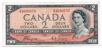 1954 CANADA TWO DOLLARS NOTE 'DEVIL'S FACE' - p67a