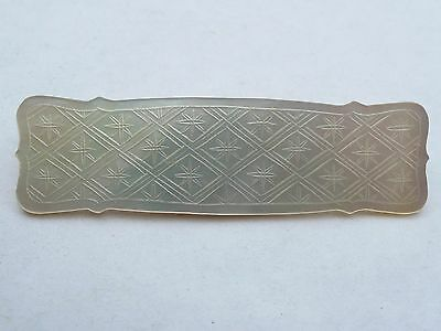 Antique Chinese Carved Mother Of Pearl Large Gaming Counter Chip Token Brooch
