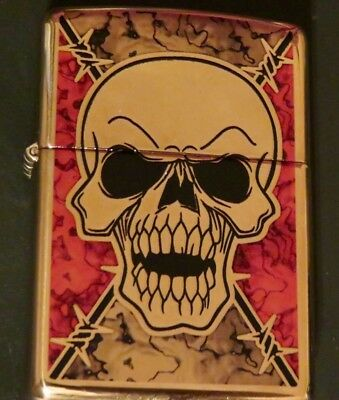 Zippo Fushion Skull With Chrome Finish- New Never Been Used- In Box