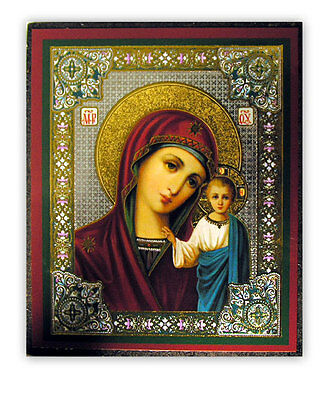Russian wood icon Virgin of Kazan #2