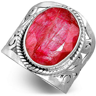 925 Sterling Silver Filigree Ring Natural Big Ruby Gemstone Jewelry Size 7