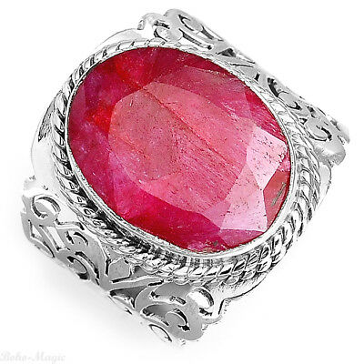925 Sterling Silver Filigree Ring Natural Ruby Gemstone Women Jewelry Size 9.5