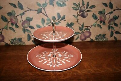 Vintage Harkerware Country Charm Coral Two-Tiered Relish/serving Dish