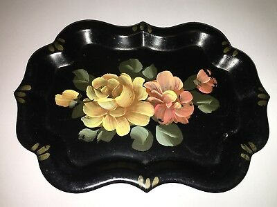 Antique Vintage Small Tole Metal Tray Hand Painted Flowers Floral 7 3/4 x 5 3/4