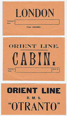 "Shipping Company ORIENT LINE ""Otranto"" * Set of 3 Luggage Labels Kofferaufkleber"
