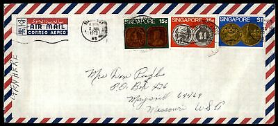 Singapore 1972 Coin Stamps Tri-Franked cover to US Missouri