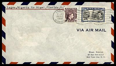 Nigeria to Us Miami Florida 1941 First Flight cover 2 Color Franking