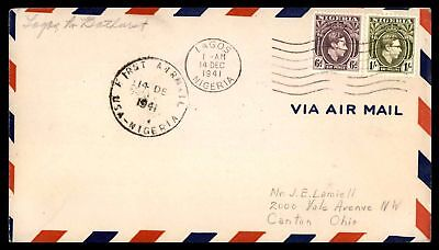 Nigeria Lagos to Bathurst 1941 First flight cover 2 Color Franking