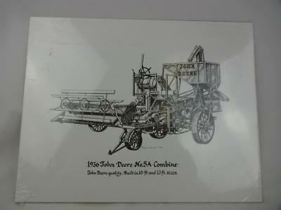 1936 John Deere No. 5A Combine Pen & Ink Drawing Print - Signed Ron Knox '92