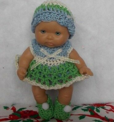 "Hand Crocheted Doll Clothes Fits 5"" Berenguer Babies/blue/lime Green/off White"