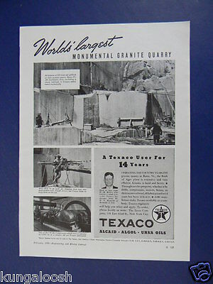 1939 World's Largest Monumental Granite Quarry At Barry Vt.  Texaco Sales Art Ad