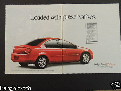 2000 Loaded With Preservatives. Dodge Neon Different. 2 Page Red Car Photo Ad