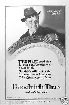 1920 Bf Goodrich Tire Ad,the Silvertown Cord