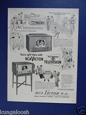 1949 You're Right There With Rca Victor Eye Witness Television Sales Art Ad