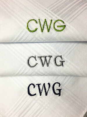 Monogrammed Handkerchiefs Set of 3 100% Cotton White High Quality Personalized