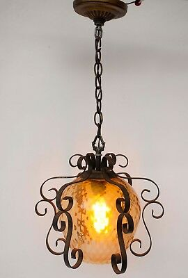 Vintage Wrought Iron Spanish Scroll Amber Glass Round Light Fixture Chandelier