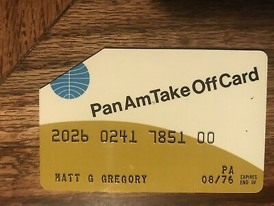 Pan Am Airlines Take Off Card Credit Card Matt Gregory Producer Signed 1976