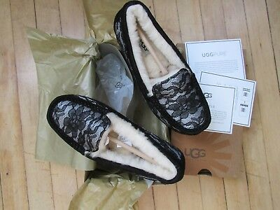 36d35be2a98 UGG ANSLEY Antoinette Black Lace & Shearling Slippers, Us 6, Nib ...