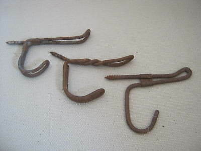 3 Vintage Old Metal Wire Coat Hooks, Shabby Country Farmhouse Barn Cottage Chic