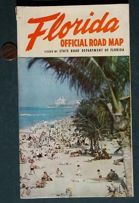 1953-55 State of Florida Official road map-Charley Johns Acting Governor-VINTAGE