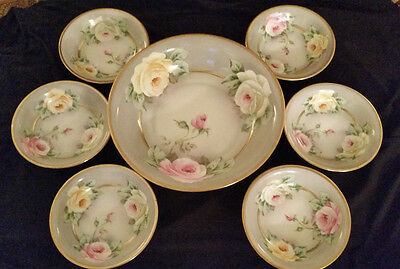 Royal Munich Berry Bowl Set Z. S. & Co. Bavaria Roses Hand Painted Signed Gobron