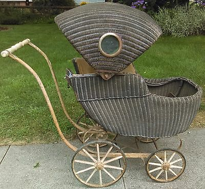 Antique Vintage Wicker Baby Buggy Carriage Stroller By Lloyd Loom Products
