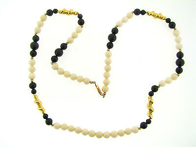 Vintage NOS Gold Spiral Bead Polished Onyx & White Agate Stone Long Necklace