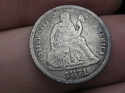 1871-S Seated Liberty Silver Dime, VG Obverse Details