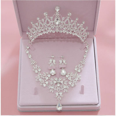 Luxury Jewelry Set Crown Tiara+Necklace+Earring Bridal Hair Accessories V