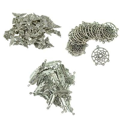 170pcs Indians Dream Catcher/Feather/Angel Wing DIY Pendant Connector Craft